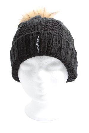Crochet Cap black cable stitch casual look