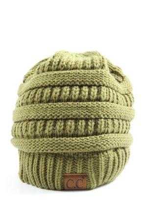 Bonnet en crochet vert torsades style décontracté