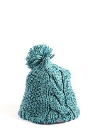 Szydełkowana czapka niebieski Warkoczowy wzór W stylu casual