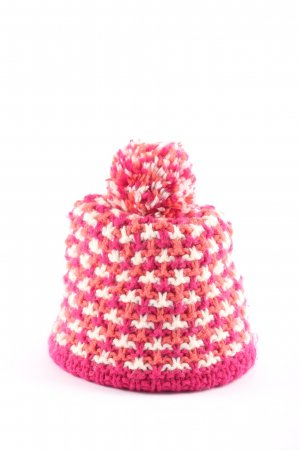 Crochet Cap pink-white flecked casual look