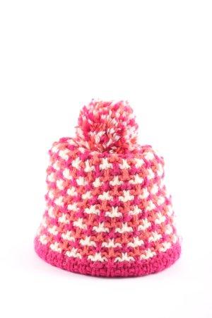 Szydełkowana czapka różowy-biały Melanżowy W stylu casual