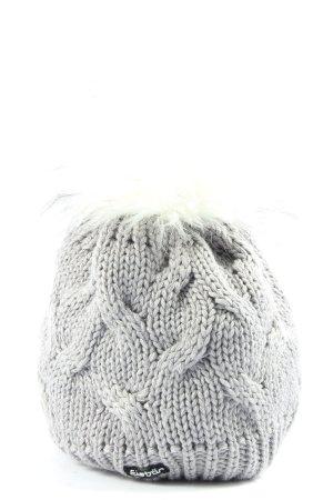 Bonnet en crochet gris clair torsades style décontracté
