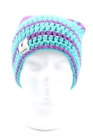 Cappello all'uncinetto turchese-lilla punto treccia stile casual