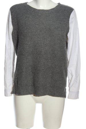 Jersey de ganchillo gris claro-blanco look casual