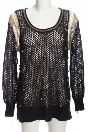 Crochet Sweater black wet-look