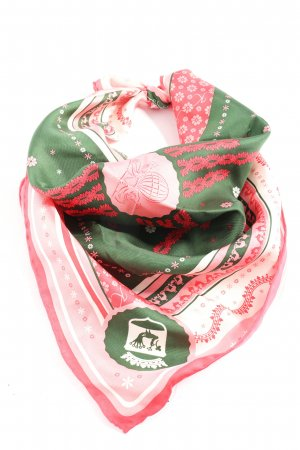 Neckerchief green-red abstract pattern casual look