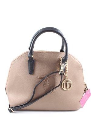 Handtasche creme-schwarz Business-Look
