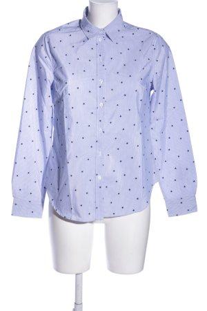 Hemd-Bluse blau-weiß Allover-Druck Business-Look