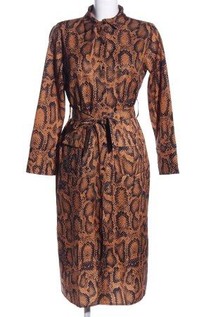 Shirtwaist dress brown-black animal pattern casual look