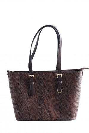 Henkeltasche braun Animalmuster Business-Look