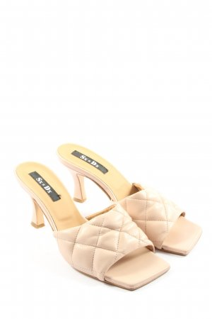 Heel Pantolettes nude quilting pattern casual look