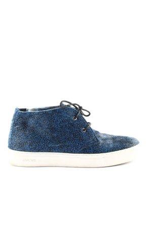 High Top Sneaker blau-schwarz Allover-Druck Casual-Look