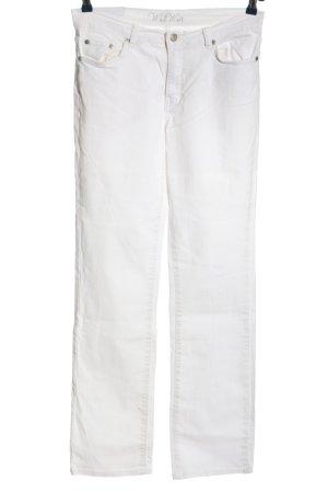 Jeans taille haute blanc style décontracté