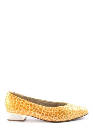 Chaussure à talons carrés blanc-orange clair imprimé allover