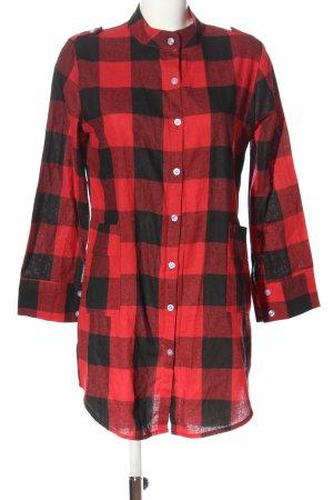 Koszula w kratę czerwony-czarny Wzór w kratkę W stylu casual