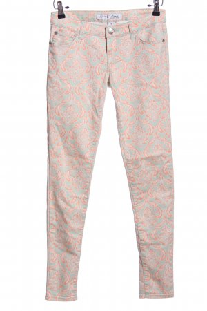 Celebrity pink Lage taille broek blauw-nude abstract patroon casual uitstraling