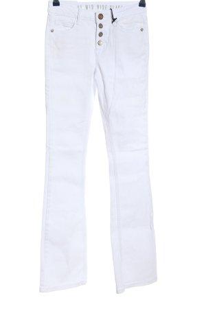 Jeansowe spodnie dzwony biały W stylu casual