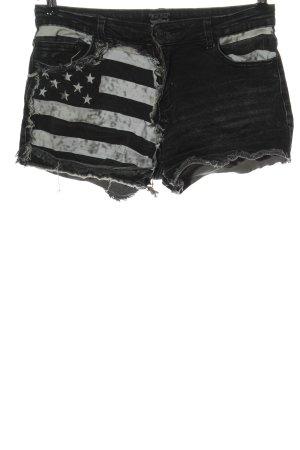 Roch Rebel Short en jean gris clair-blanc imprimé avec thème