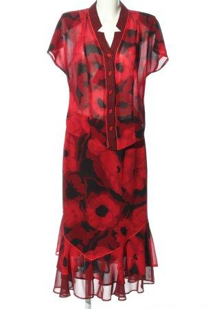 Cardinal Jersey twin set zwart-rood bloemenprint elegant