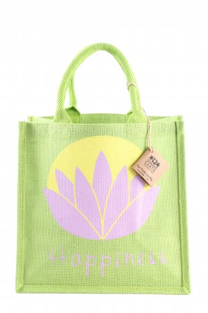 shared earth Jutetasche Motivdruck Casual-Look
