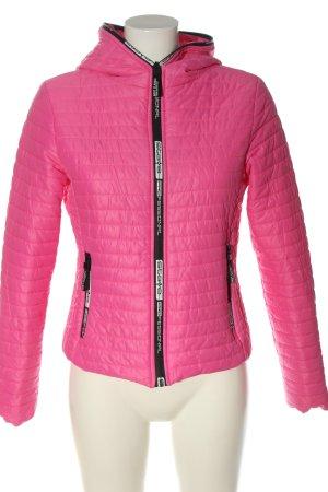 Pikowana kurtka różowy Pikowany wzór Elegancki