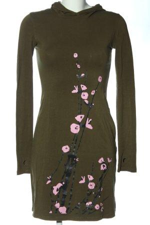 Robe à capuche kaki-rose motif de fleur style décontracté