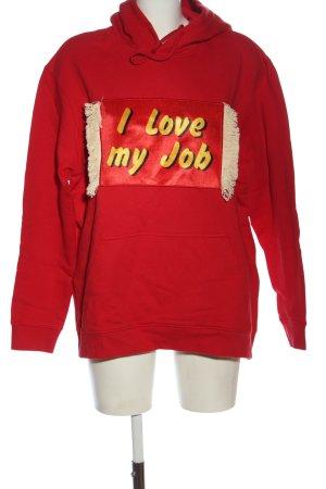 House of Holland Kapuzensweatshirt rot-blassgelb Motivdruck Casual-Look