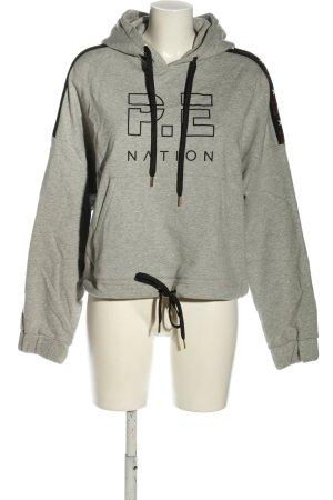 P.E Nation x H&M Kapuzensweatshirt hellgrau-schwarz meliert Casual-Look