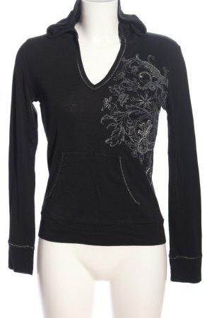 Hooded Sweatshirt black-light grey themed print casual look