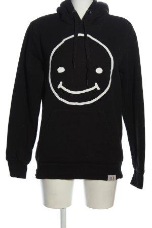 LUCCA Kapuzensweatshirt schwarz-weiß Motivdruck Casual-Look