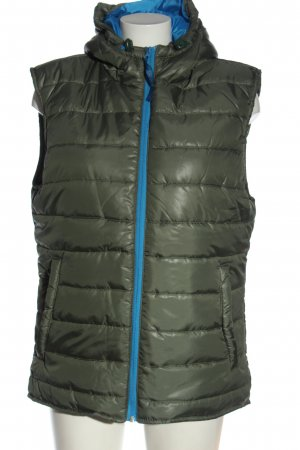 MALEXXIUS Gilet à capuche kaki-bleu motif de courtepointe style décontracté