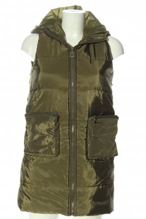 Hooded Vest khaki quilting pattern casual look