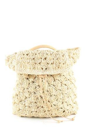 Mini sac à dos crème Motif de tissage élégant