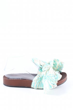 Hemant & Nandita Komfort-Sandalen türkis-wollweiß abstraktes Muster