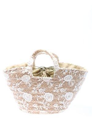 Basket Bag natural white-white flower pattern elegant