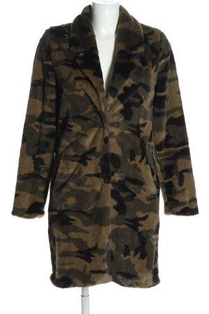 Manteau en fausse fourrure kaki-brun imprimé allover style décontracté
