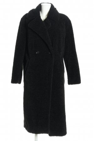Płaszcz ze sztucznym futrem czarny W stylu casual