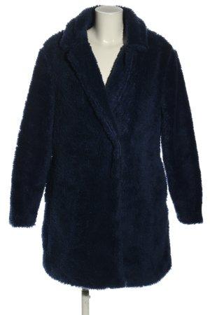Manteau en fausse fourrure bleu style décontracté