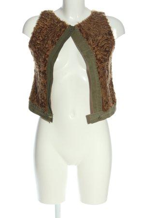 Chaleco de piel sintética caqui-marrón look casual