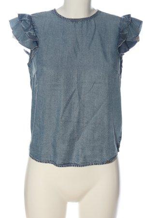 Superdry Kurzarm-Bluse blau Casual-Look