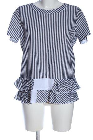 Riani Kurzarm-Bluse weiß-schwarz Streifenmuster Elegant