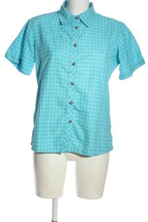 Camisa de manga corta turquesa estampado repetido sobre toda la superficie