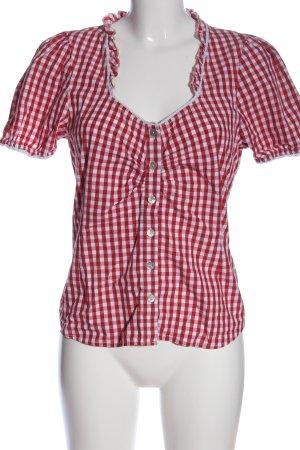 Chemise à manches courtes rouge-blanc motif à carreaux style décontracté