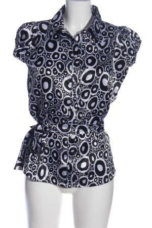 Norbi Kurzarmhemd weiß-schwarz abstraktes Muster Business-Look