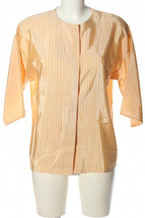 Chemise à manches courtes orange clair-blanc motif rayé style décontracté