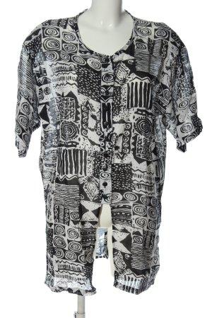 Chemise à manches courtes noir-blanc Mélange de motifs style décontracté