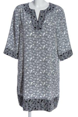 amiable Robe à manches courtes blanc-noir imprimé allover style décontracté