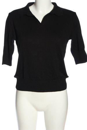 Sweater met korte mouwen zwart casual uitstraling