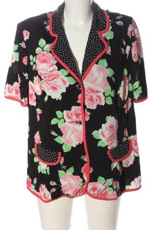 Cárdigan de manga corta negro-rosa estampado floral elegante