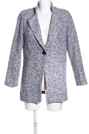 Manteau court bleu-gris clair moucheté style décontracté